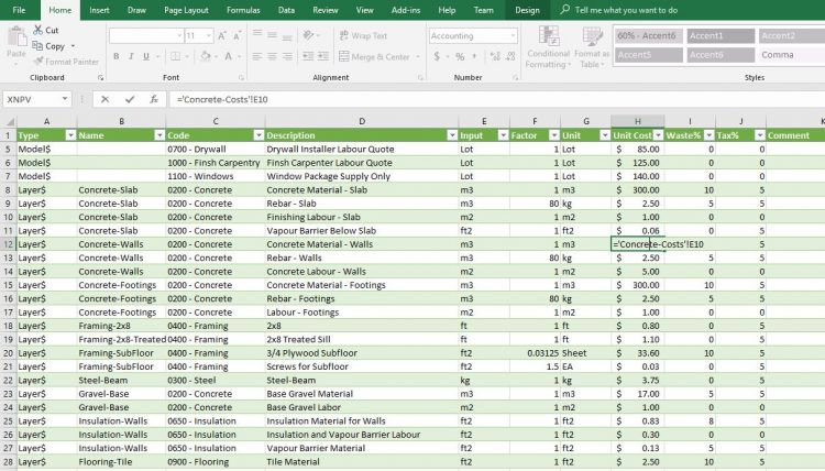 Import and Export SketchUp cost data to and from Excel