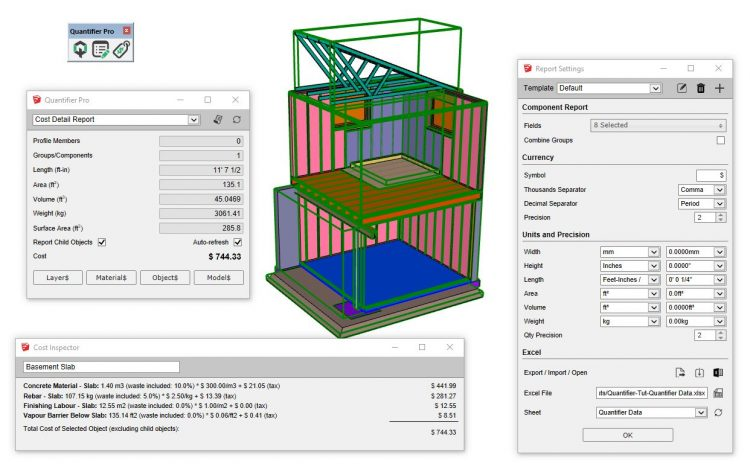 Use Quantifier Pro to calculate area, volume, length, weight, and costs in your SketchUp model